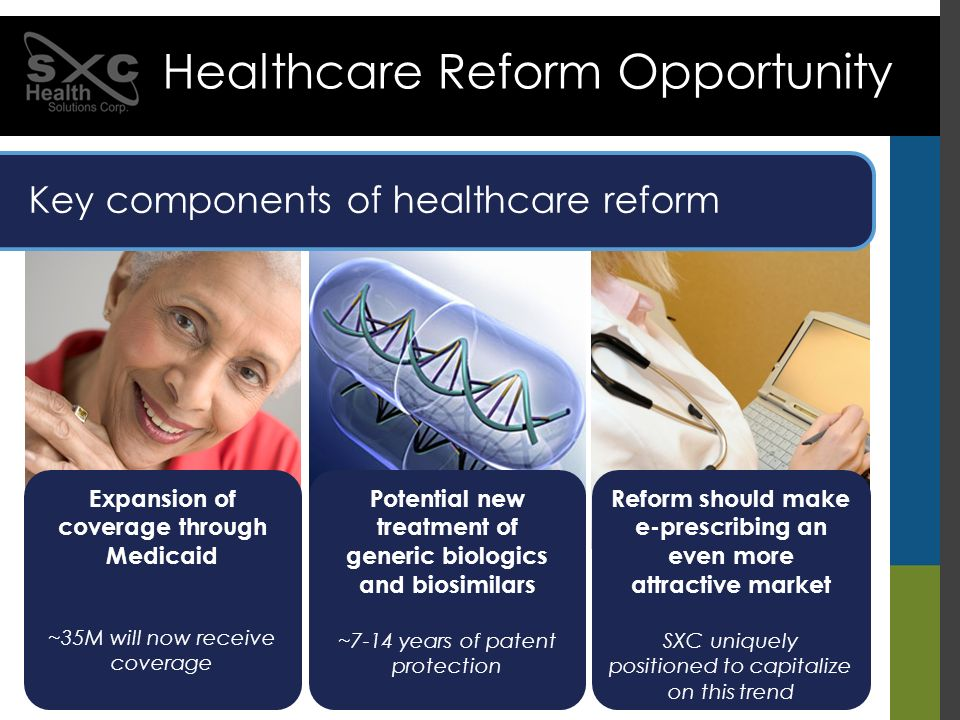 Expansion of coverage through Medicaid ~35M will now receive coverage Key components of healthcare reform Healthcare Reform Opportunity Potential new
