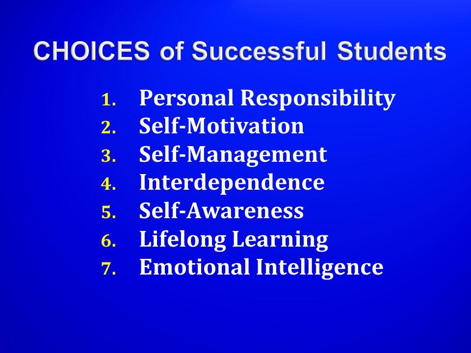 1.Personal Responsibility 2. Self-Motivation 3. Self-Management 4.