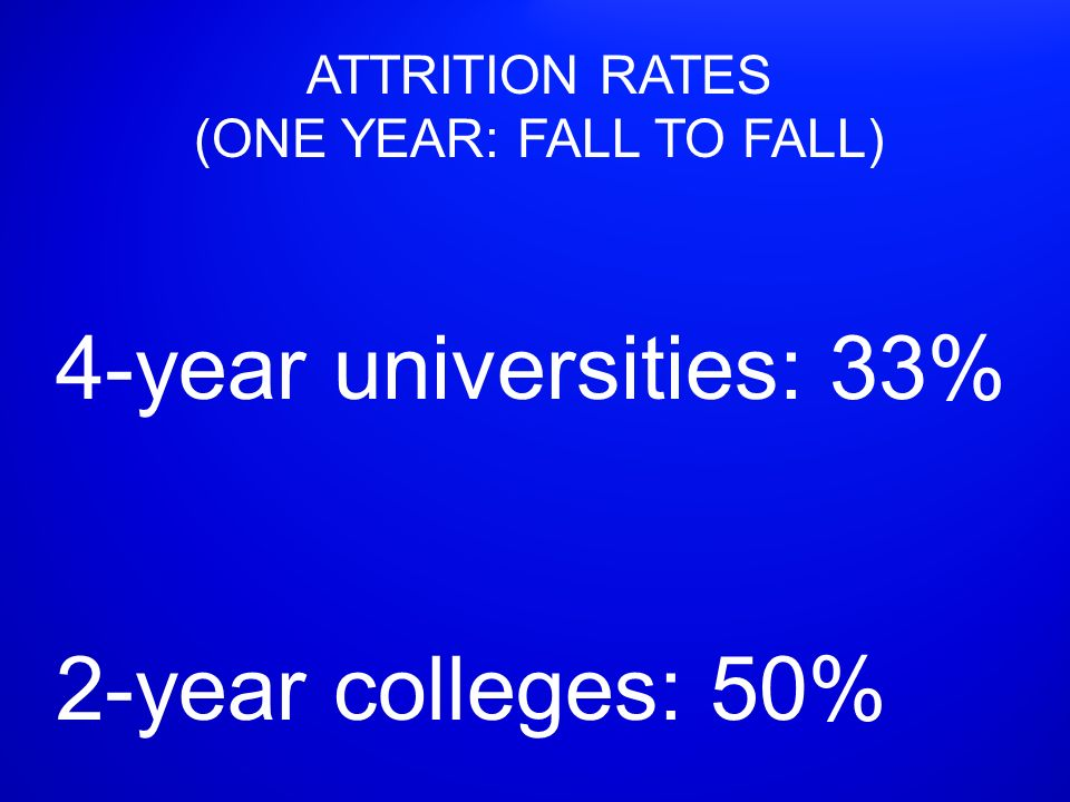 ATTRITION RATES (ONE YEAR: FALL TO FALL) 4-year universities: 33% 2-year colleges: 50%