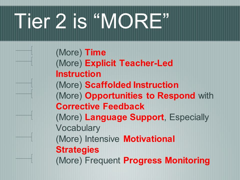 Tier 2 is MORE (More) Time (More) Explicit Teacher-Led Instruction (More) Scaffolded Instruction (More) Opportunities to Respond with Corrective Feedback (More) Language Support, Especially Vocabulary (More) Intensive Motivational Strategies (More) Frequent Progress Monitoring