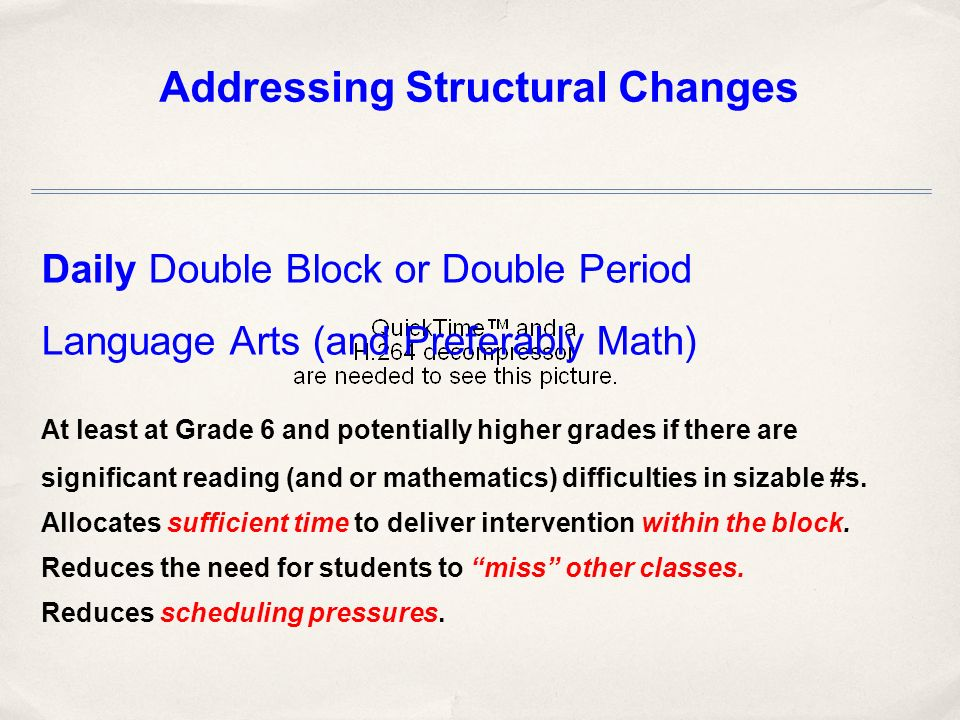 Daily Double Block or Double Period Language Arts (and Preferably Math) At least at Grade 6 and potentially higher grades if there are significant reading (and or mathematics) difficulties in sizable #s.