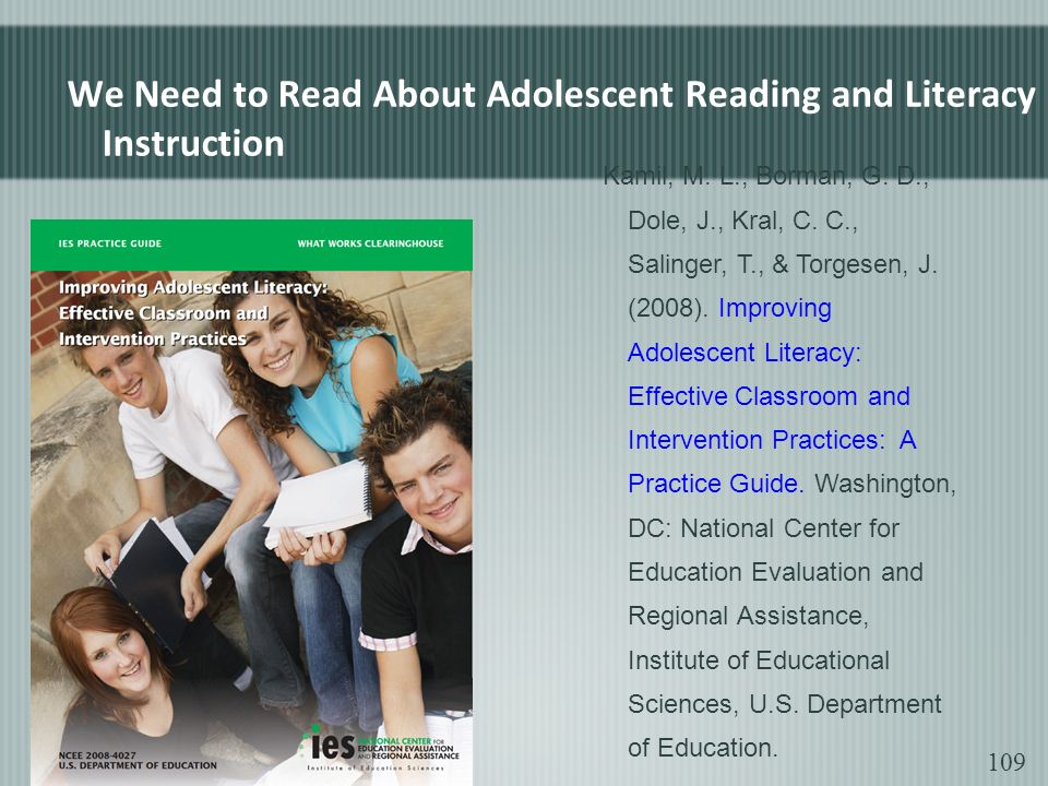 We Need to Read About Adolescent Reading and Literacy Instruction Kamil, M.