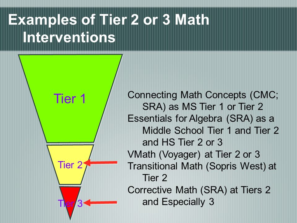 Examples of Tier 2 or 3 Math Interventions Tier 1 Tier 2 Tier 3 Connecting Math Concepts (CMC; SRA) as MS Tier 1 or Tier 2 Essentials for Algebra (SRA) as a Middle School Tier 1 and Tier 2 and HS Tier 2 or 3 VMath (Voyager) at Tier 2 or 3 Transitional Math (Sopris West) at Tier 2 Corrective Math (SRA) at Tiers 2 and Especially 3
