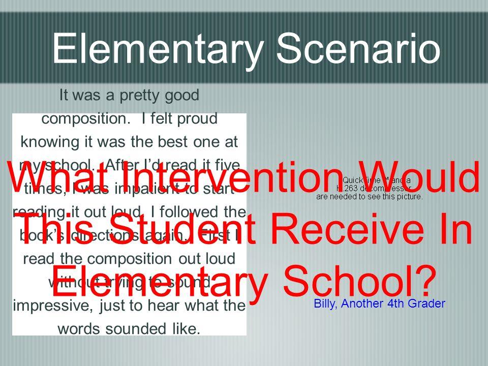 Elementary Scenario It was a pretty good composition.