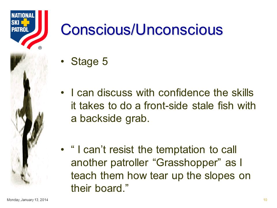Monday, January 13, 201410 Conscious/Unconscious Stage 5 I can discuss with confidence the skills it takes to do a front-side stale fish with a backside grab.