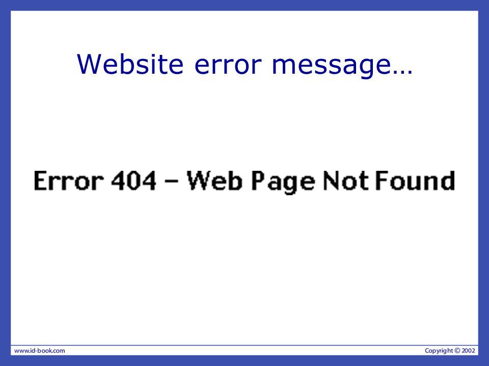 Website error message…