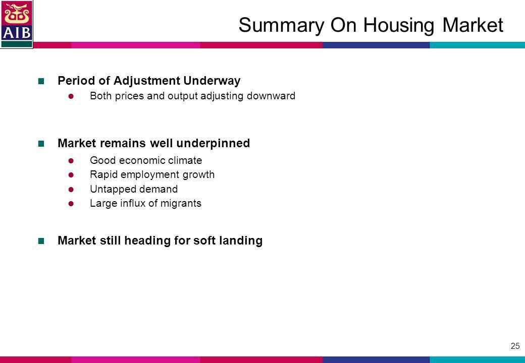 25 Summary On Housing Market Period of Adjustment Underway Both prices and output adjusting downward Market remains well underpinned Good economic cli