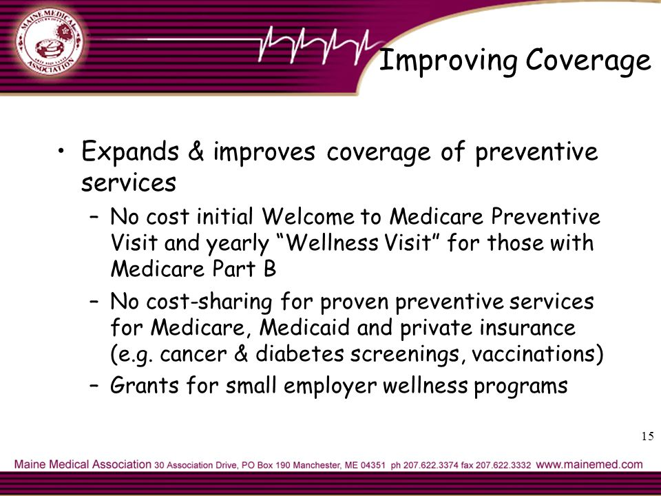 Improving Coverage Expands & improves coverage of preventive services –No cost initial Welcome to Medicare Preventive Visit and yearly Wellness Visit for those with Medicare Part B –No cost-sharing for proven preventive services for Medicare, Medicaid and private insurance (e.g.
