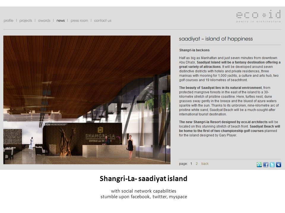 Shangri-La- saadiyat island with social network capabilities stumble upon facebook, twitter, myspace
