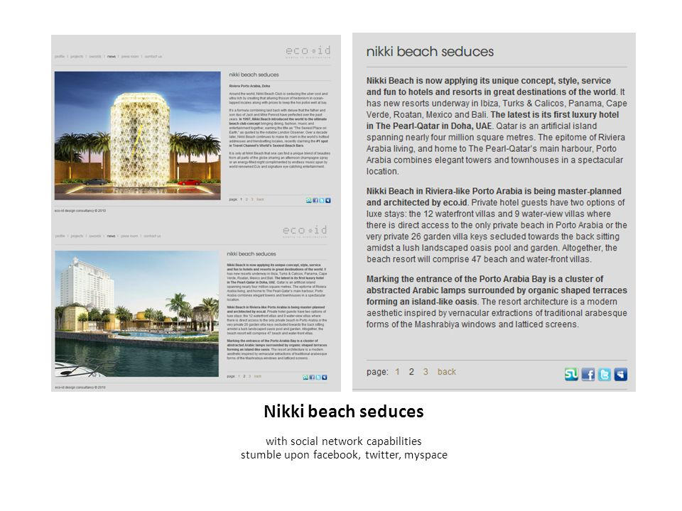 Nikki beach seduces with social network capabilities stumble upon facebook, twitter, myspace