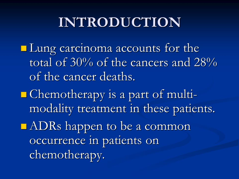Lung carcinoma accounts for the total of 30% of the cancers and 28% of the cancer deaths. Lung carcinoma accounts for the total of 30% of the cancers