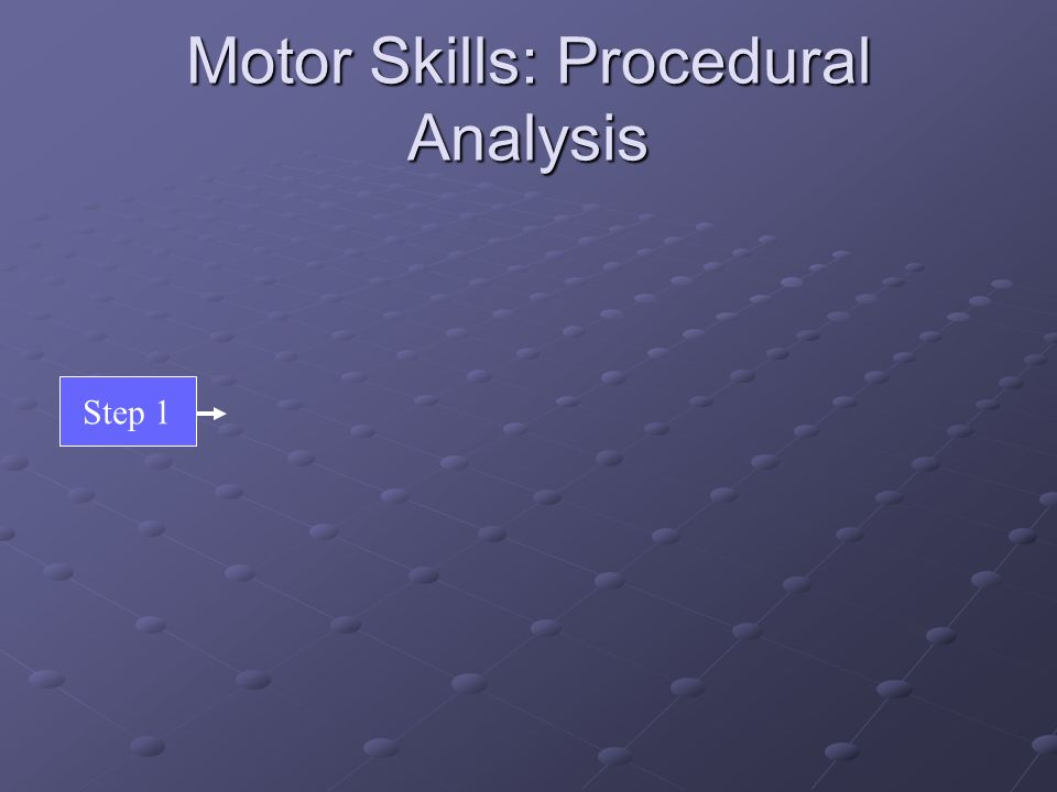 Motor Skills: Procedural Analysis Step 1