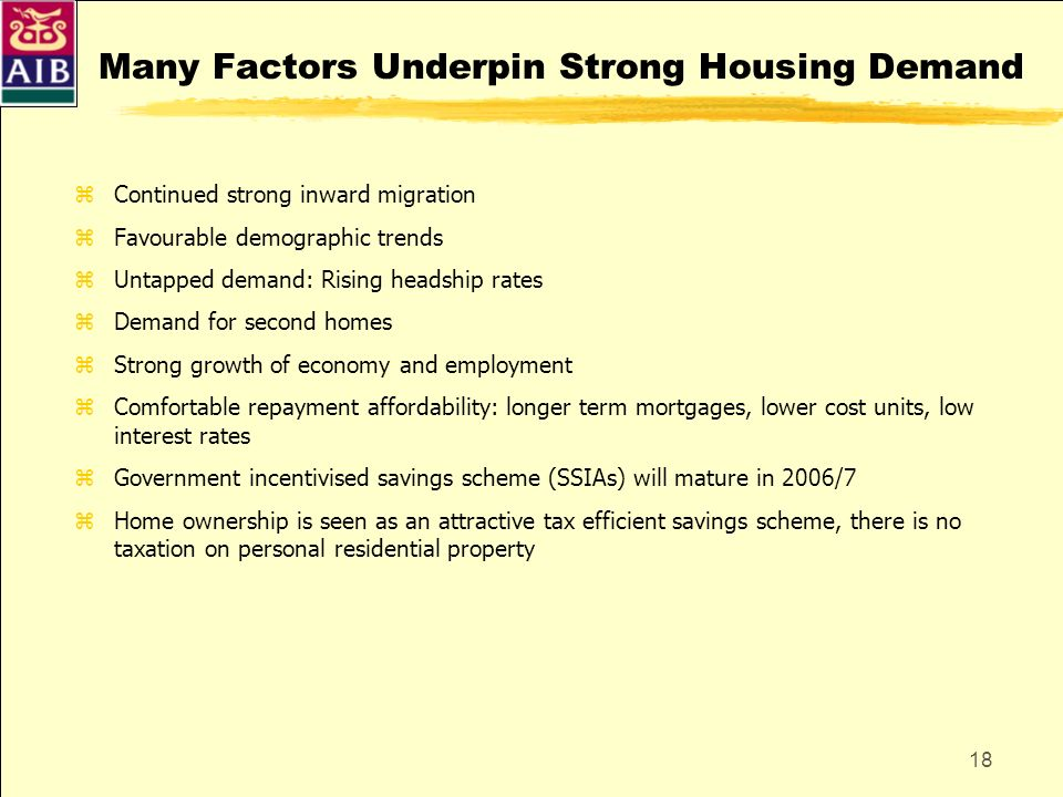 18 Many Factors Underpin Strong Housing Demand zContinued strong inward migration zFavourable demographic trends zUntapped demand: Rising headship rat