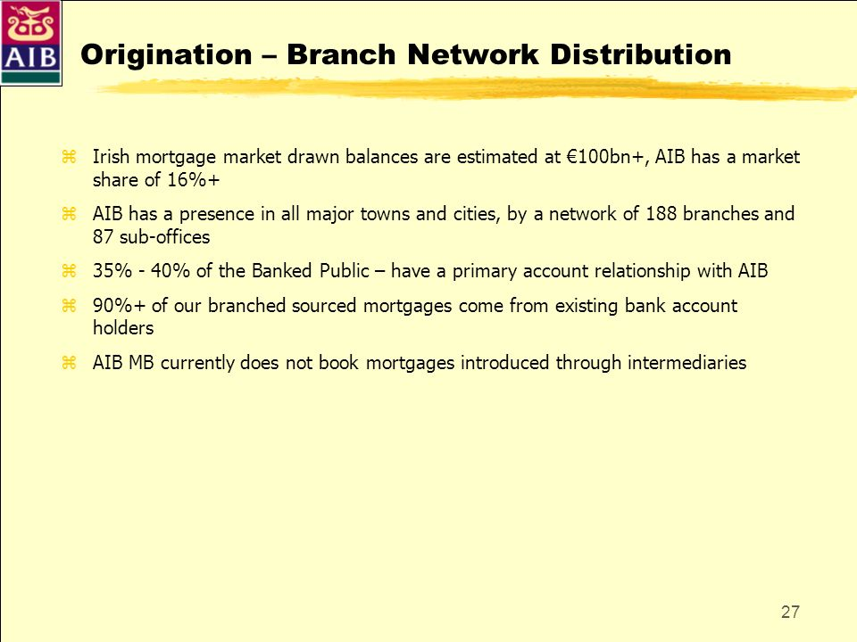 27 Origination – Branch Network Distribution zIrish mortgage market drawn balances are estimated at 100bn+, AIB has a market share of 16%+ zAIB has a