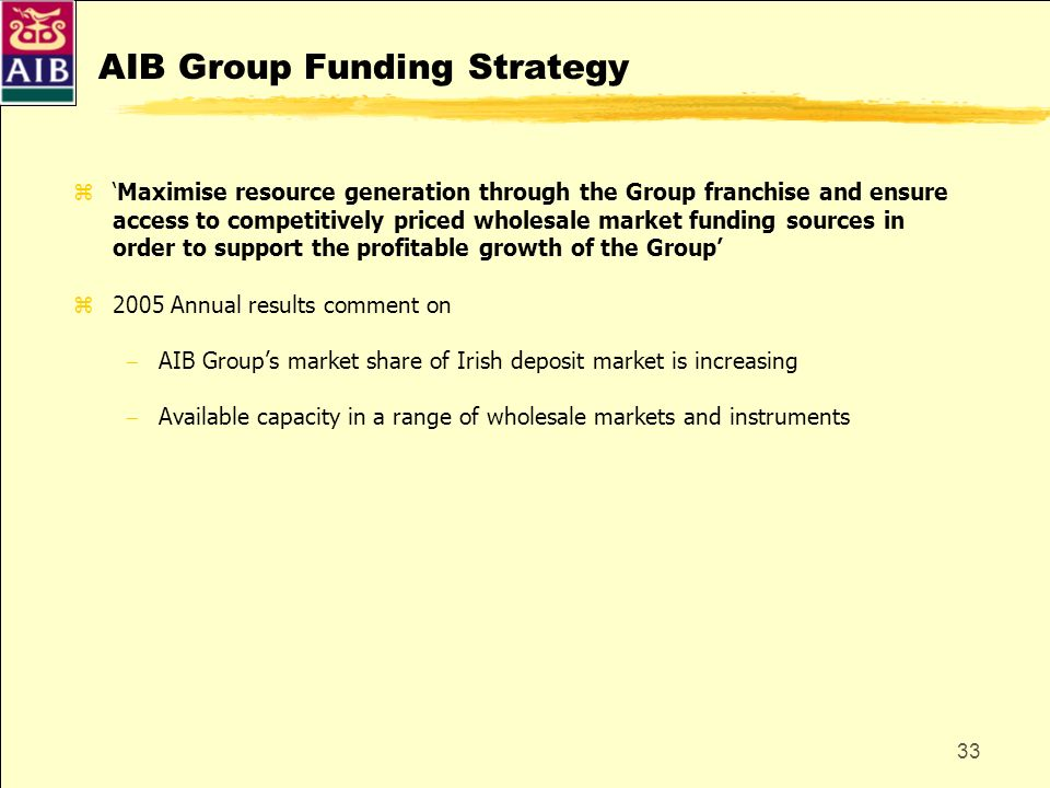 33 AIB Group Funding Strategy zMaximise resource generation through the Group franchise and ensure access to competitively priced wholesale market fun