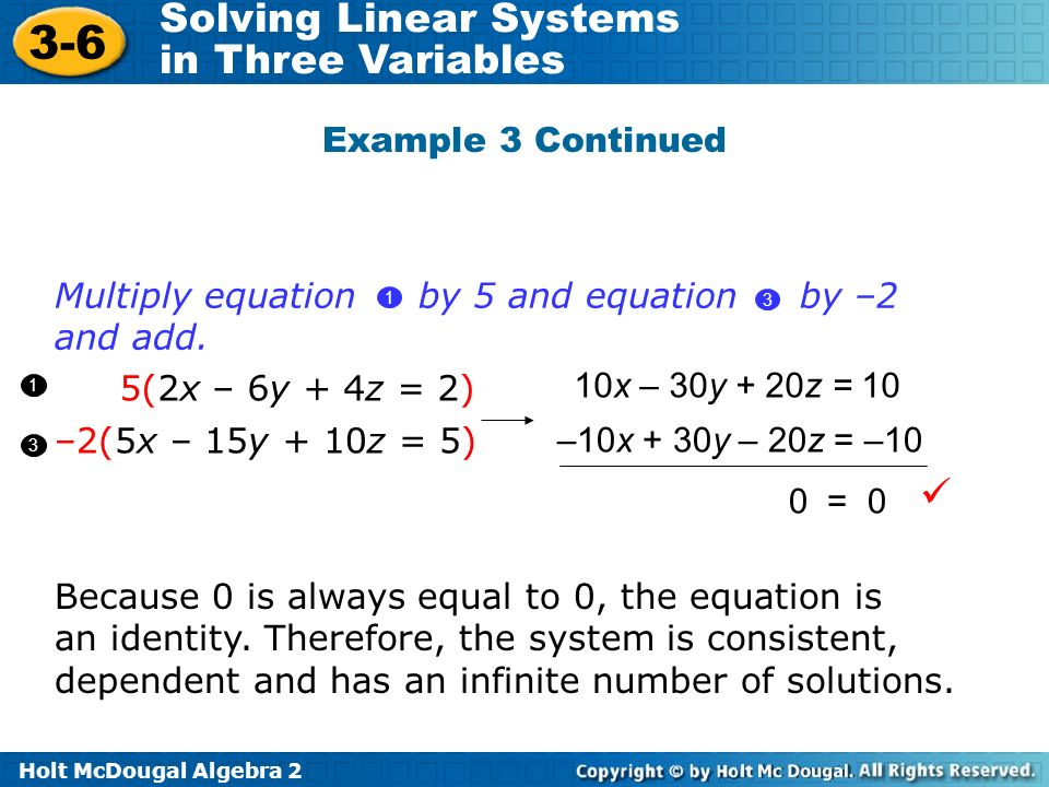 Holt McDougal Algebra 2 3-6 Solving Linear Systems in Three Variables Example 3 Continued 5(2x – 6y + 4z = 2) –2(5x – 15y + 10z = 5) 1 3 10x – 30y + 2