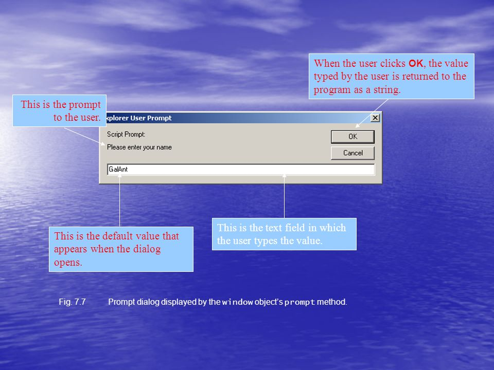 Fig. 7.7Prompt dialog displayed by the window objects prompt method.