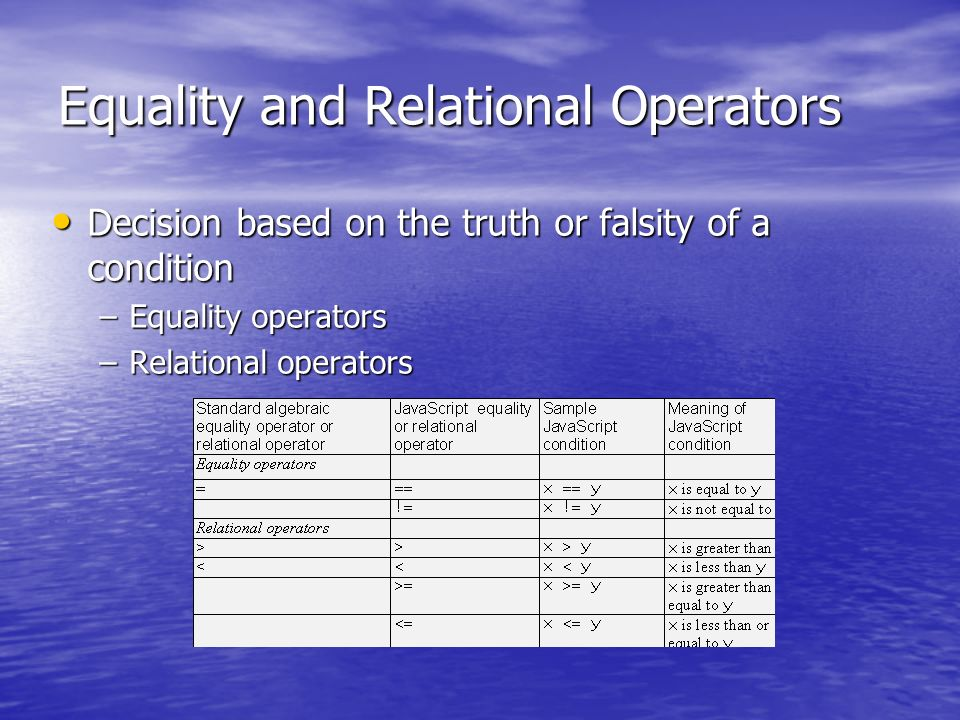 Equality and Relational Operators Decision based on the truth or falsity of a condition Decision based on the truth or falsity of a condition –Equality operators –Relational operators