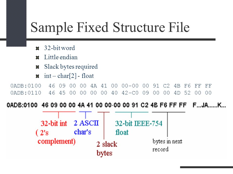 Sample Fixed Structure File 32-bit word Little endian Slack bytes required int – char[2] - float 0ADB:0100 46 09 00 00 4A 41 00 00-00 00 91 C2 4B F6 FF FF 0ADB:0110 46 45 00 00 00 00 40 42-C0 09 00 00 4D 52 00 00