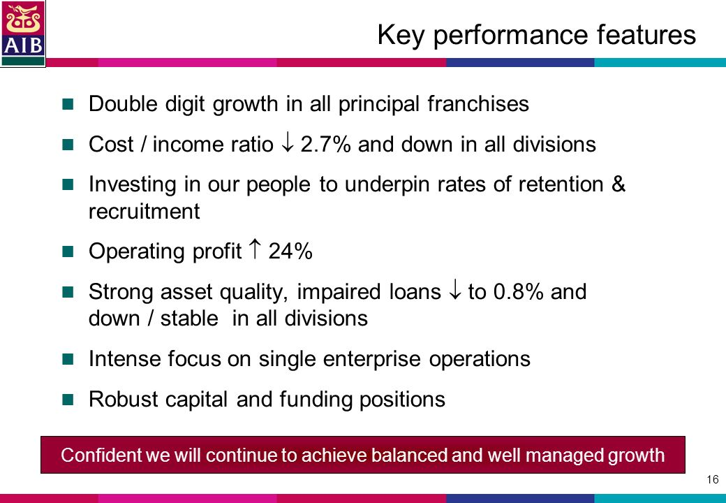 16 Key performance features Double digit growth in all principal franchises Cost / income ratio 2.7% and down in all divisions Investing in our people to underpin rates of retention & recruitment Operating profit 24% Strong asset quality, impaired loans to 0.8% and down / stable in all divisions Intense focus on single enterprise operations Robust capital and funding positions Confident we will continue to achieve balanced and well managed growth