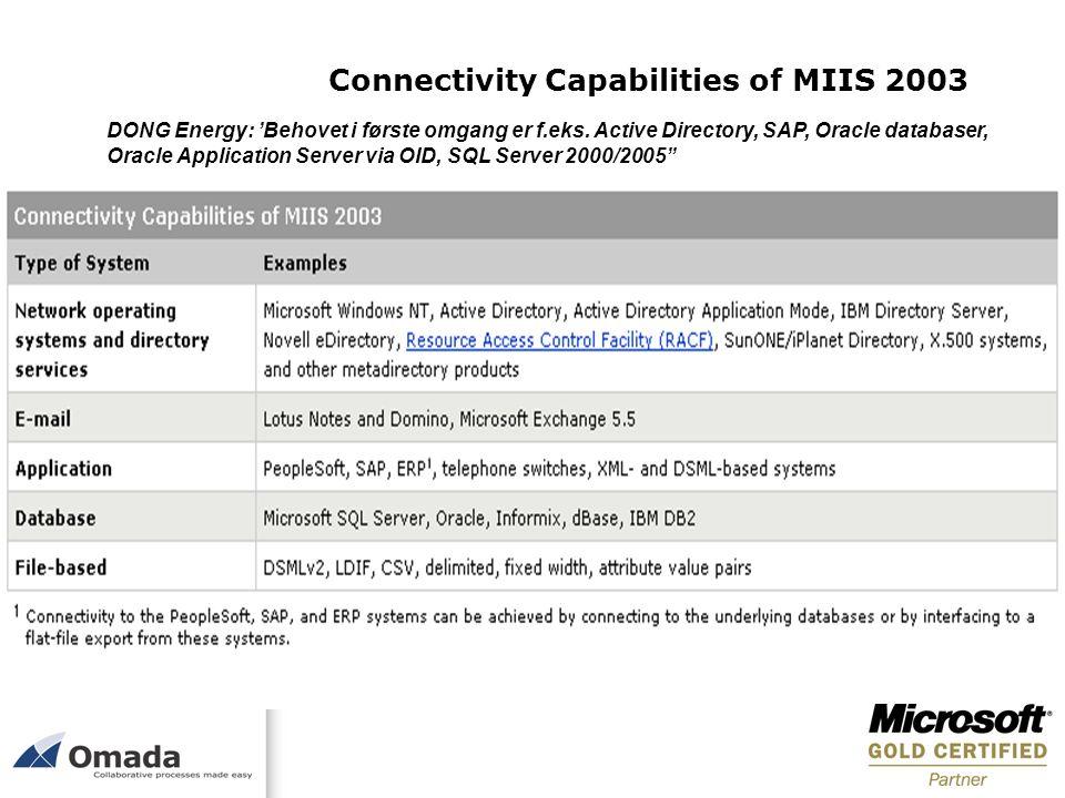 Connectivity Capabilities of MIIS 2003 DONG Energy: Behovet i første omgang er f.eks. Active Directory, SAP, Oracle databaser, Oracle Application Serv