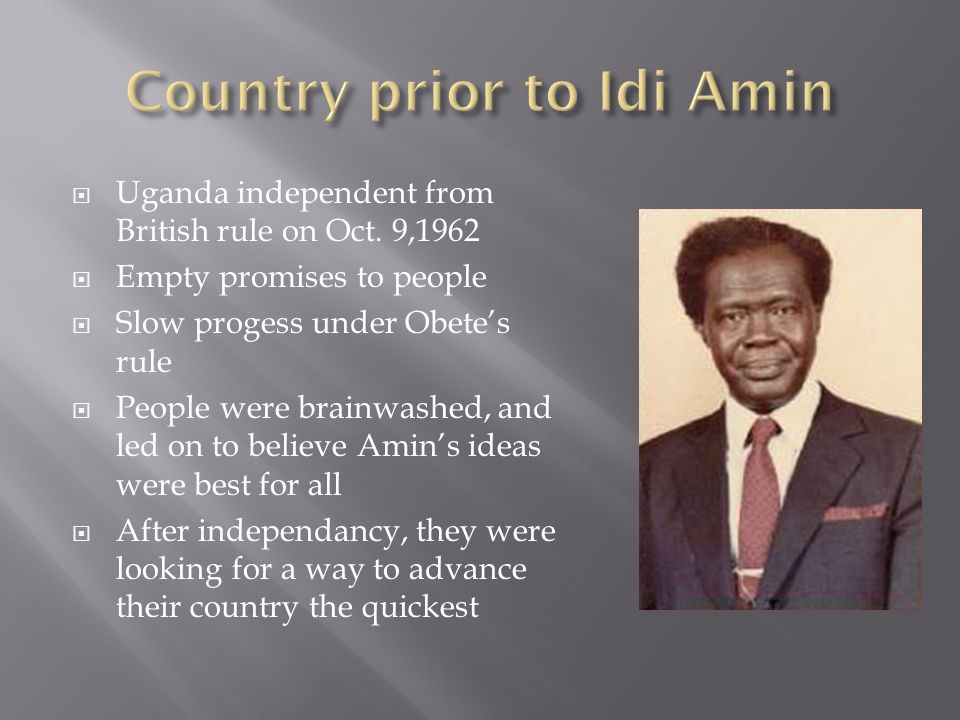 1944- Amin enlisted in the British Colony Army.He was a perfect candidate for an army man.