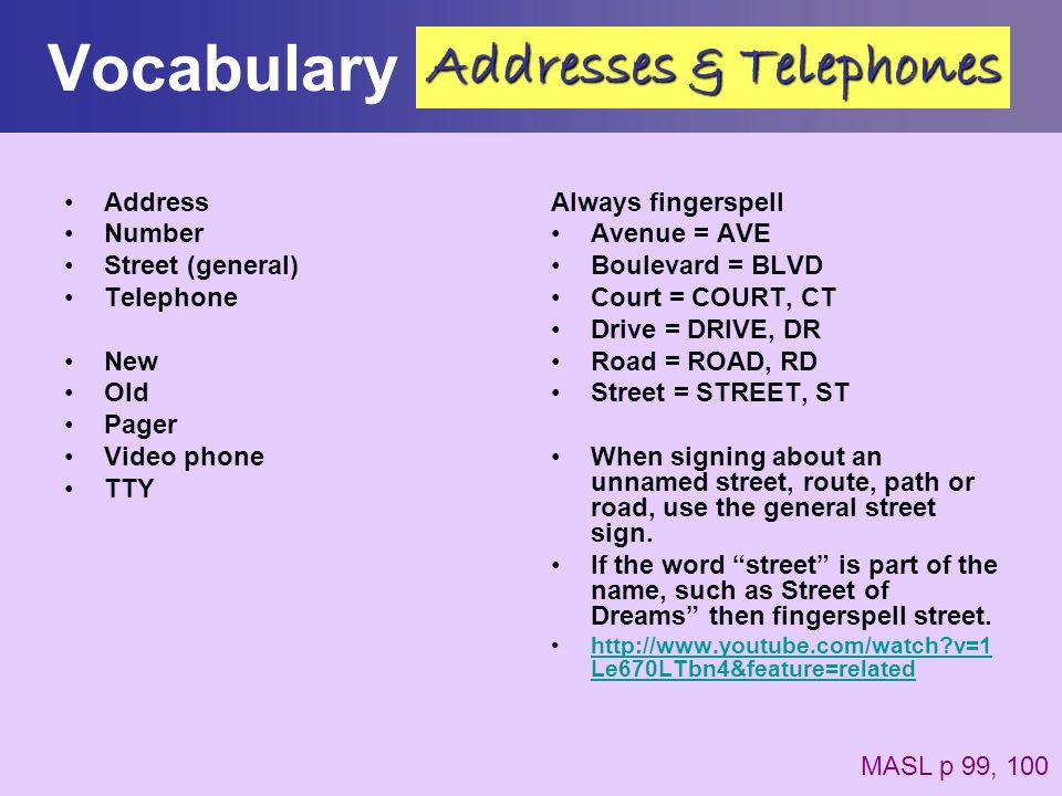 Vocabulary Address Number Street (general) Telephone New Old Pager Video phone TTY Always fingerspell Avenue = AVE Boulevard = BLVD Court = COURT, CT