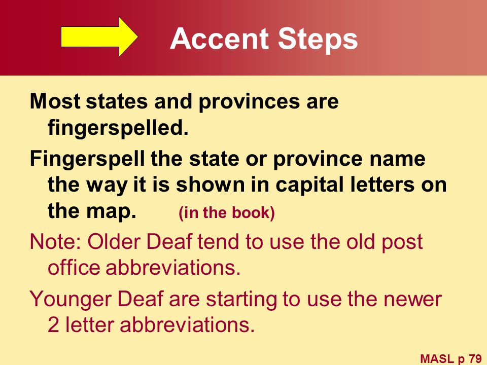 Accent Steps Most states and provinces are fingerspelled. Fingerspell the state or province name the way it is shown in capital letters on the map. (i