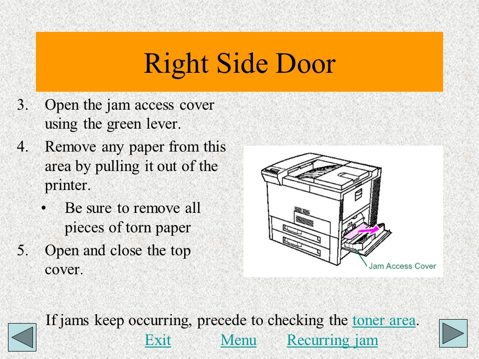 Right Side Door 3.Open the jam access cover using the green lever. 4.Remove any paper from this area by pulling it out of the printer. Be sure to remo