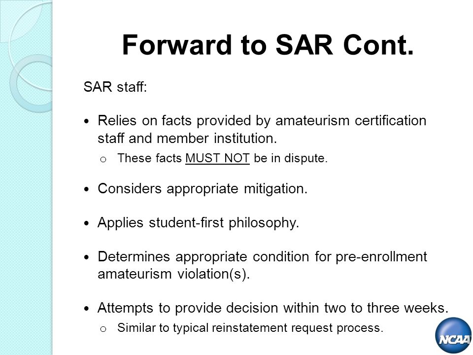 SAR staff: Relies on facts provided by amateurism certification staff and member institution.
