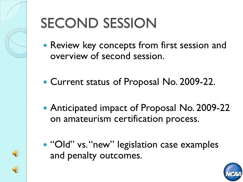 SECOND SESSION Review key concepts from first session and overview of second session. Current status of Proposal No. 2009-22. Anticipated impact of Pr
