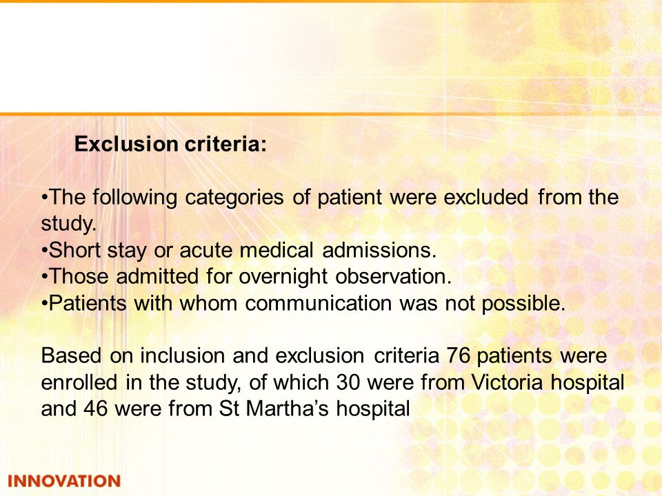 PROBLEMSNo.of cases Lab investigation not done29 Appropriate Treatment not given 28 Dose & Duration incorrect22 Drug - Drug Interaction21 Missed Drug29 Extra Drug33 ADRs13 Discharge Summary11 A total of 76 patients were enrolled in the study of which 30 patients were from Victoria hospital and 45 patients were from St Marthas hospital.