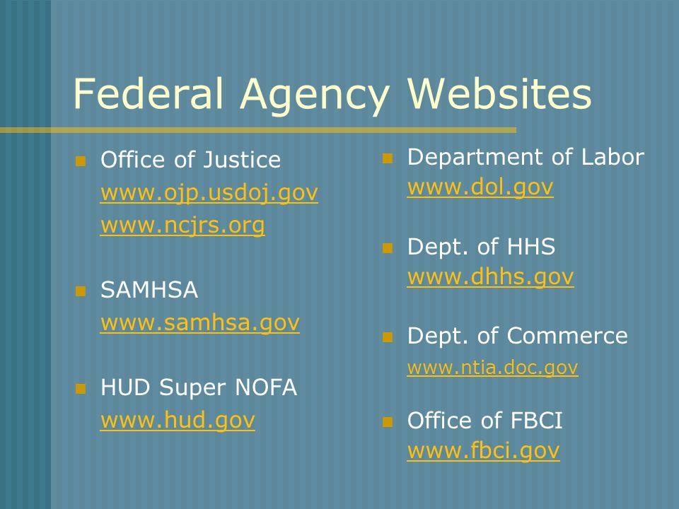 Federal Agency Websites Office of Justice www.ojp.usdoj.gov www.ncjrs.org SAMHSA www.samhsa.gov HUD Super NOFA www.hud.gov Department of Labor www.dol.gov Dept.