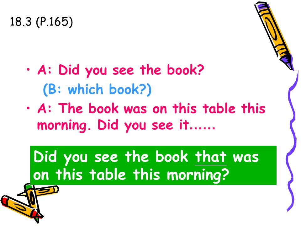 18.3 (P.165) A: Did you see the book? (B: which book?) A: The book was on this table this morning. Did you see it …… Did you see the book that was on