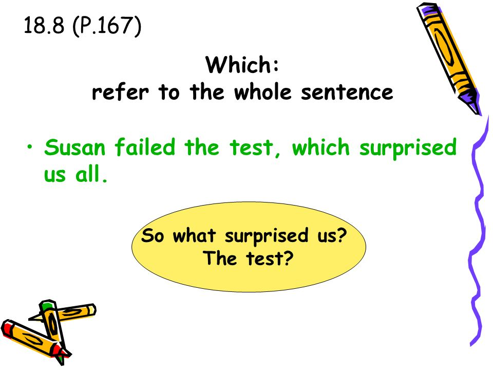 Which: refer to the whole sentence Susan failed the test, which surprised us all. 18.8 (P.167) So what surprised us? The test?