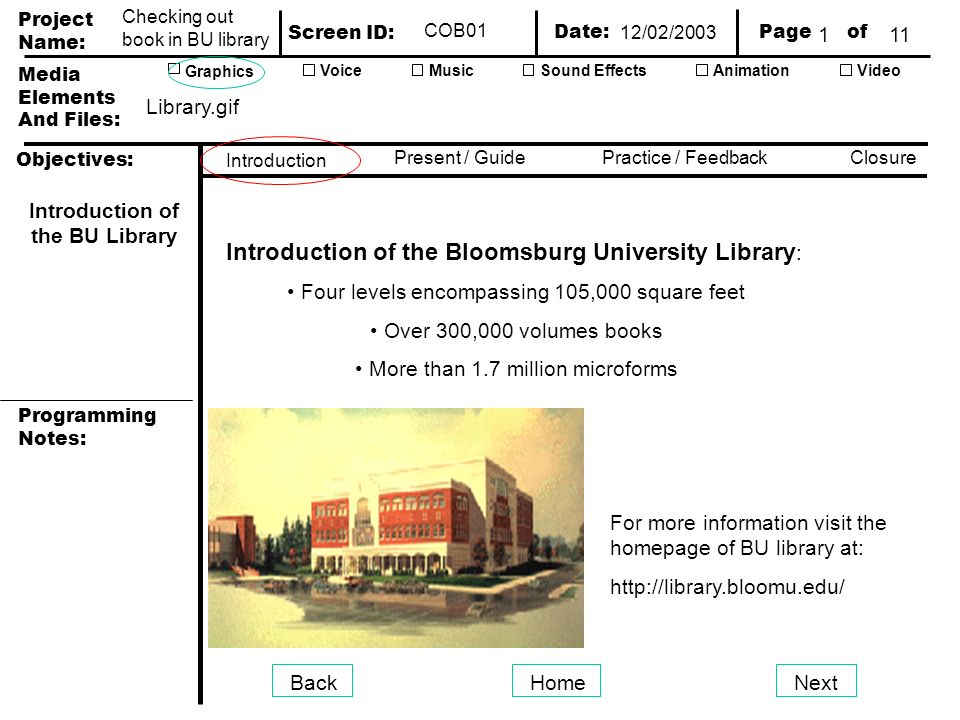 Project Name: Screen ID: Media Elements And Files: Page of Date: Graphics AnimationVideoVoiceMusicSound Effects Objectives: Present / GuidePractice / Feedback Closure Introduction Programming Notes: Checking out book in BU library COB01 BackHomeNext Introduction of the Bloomsburg University Library : Four levels encompassing 105,000 square feet Over 300,000 volumes books More than 1.7 million microforms Introduction of the BU Library For more information visit the homepage of BU library at:   Library.gif 12/02/
