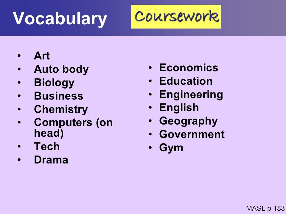 Vocabulary Art Auto body Biology Business Chemistry Computers (on head) Tech Drama Economics Education Engineering English Geography Government Gym MA