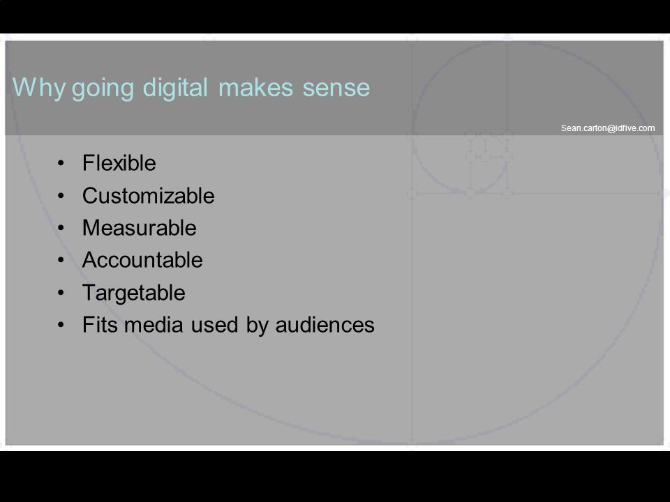 Sean.carton@idfive.com 35 Why going digital makes sense Flexible Customizable Measurable Accountable Targetable Fits media used by audiences 35