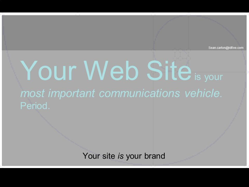 Sean.carton@idfive.com Your Web Site is your most important communications vehicle. Period. Your site is your brand