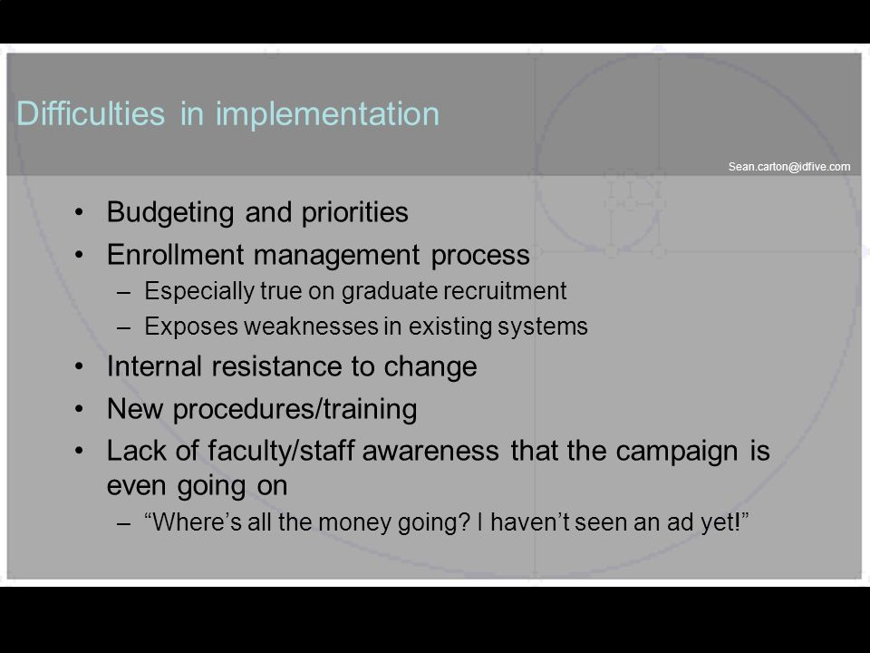 Sean.carton@idfive.com 45 Difficulties in implementation Budgeting and priorities Enrollment management process –Especially true on graduate recruitme