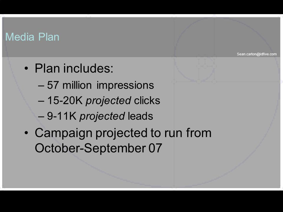 Sean.carton@idfive.com 54 Media Plan Plan includes: –57 million impressions –15-20K projected clicks –9-11K projected leads Campaign projected to run