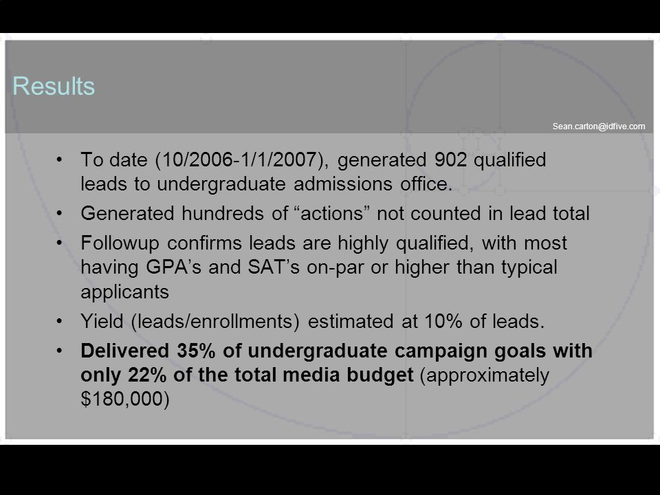 Sean.carton@idfive.com 57 Results To date (10/2006-1/1/2007), generated 902 qualified leads to undergraduate admissions office. Generated hundreds of