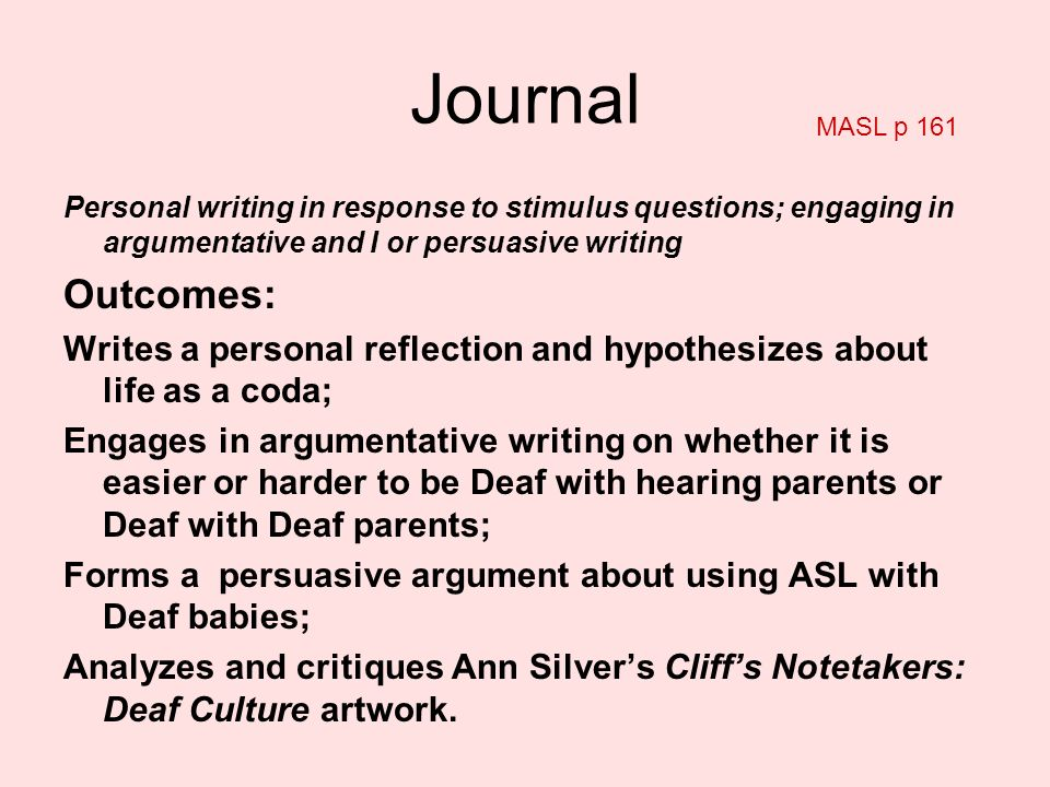 Personal writing in response to stimulus questions; engaging in argumentative and I or persuasive writing Outcomes: Writes a personal reflection and h