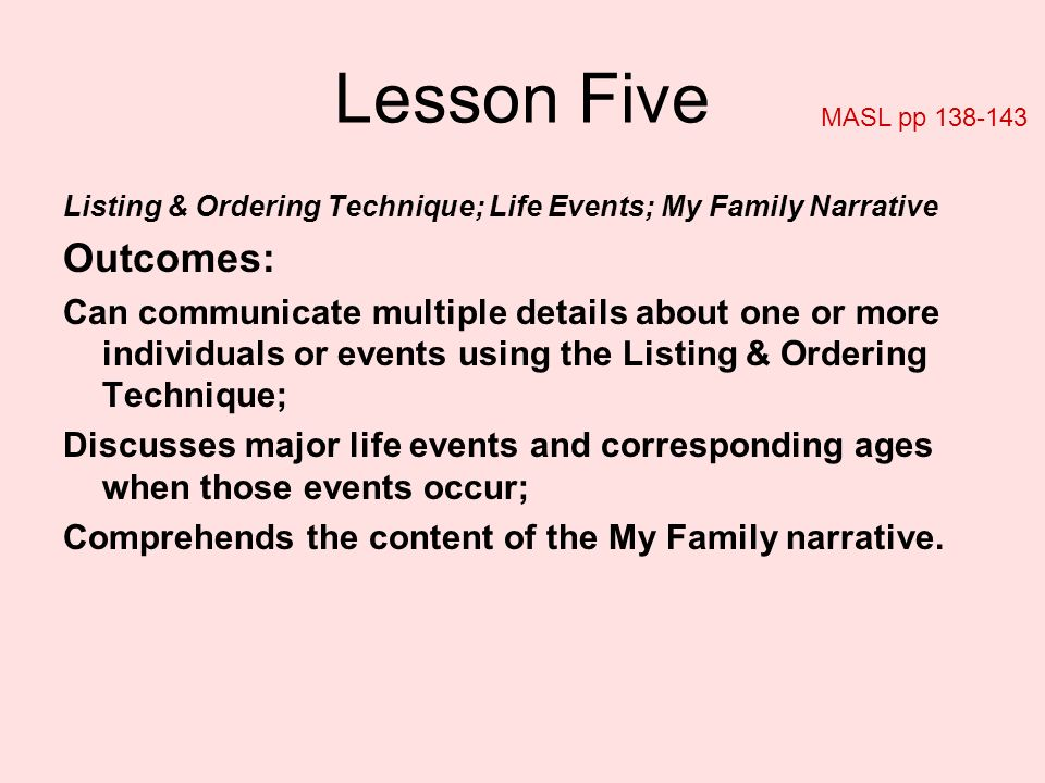 Lesson Five Listing & Ordering Technique; Life Events; My Family Narrative Outcomes: Can communicate multiple details about one or more individuals or