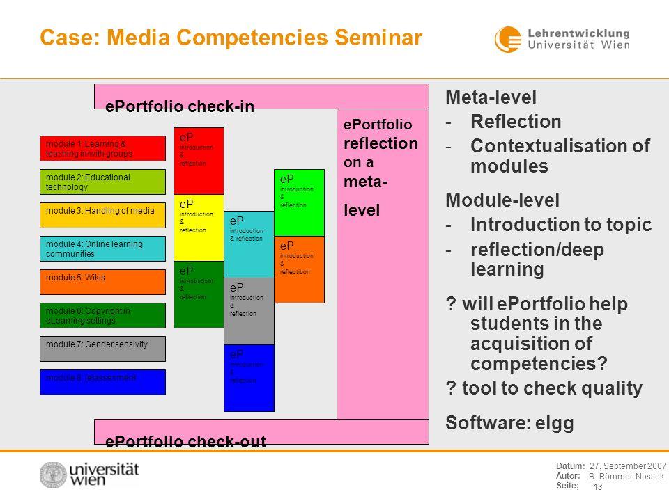 B. Römmer-Nossek 13 Datum: Autor: Seite; 27. September 2007 Case: Media Competencies Seminar module 7: Gender sensivity module 2: Educational technolo