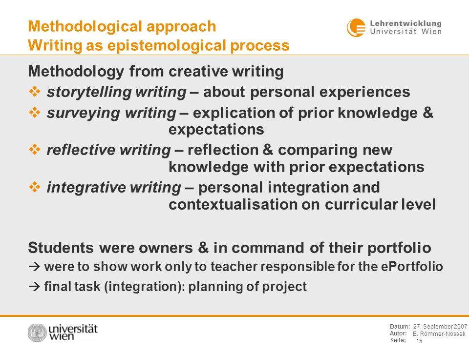 B. Römmer-Nossek 15 Datum: Autor: Seite; 27. September 2007 Methodological approach Writing as epistemological process Methodology from creative writi