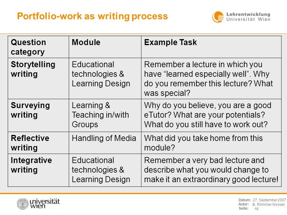 B. Römmer-Nossek 16 Datum: Autor: Seite; 27. September 2007 Portfolio-work as writing process Question category ModuleExample Task Storytelling writin