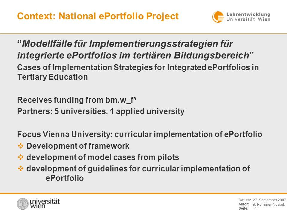B. Römmer-Nossek 2 Datum: Autor: Seite; 27. September 2007 Context: National ePortfolio Project Modellfälle für Implementierungsstrategien für integri
