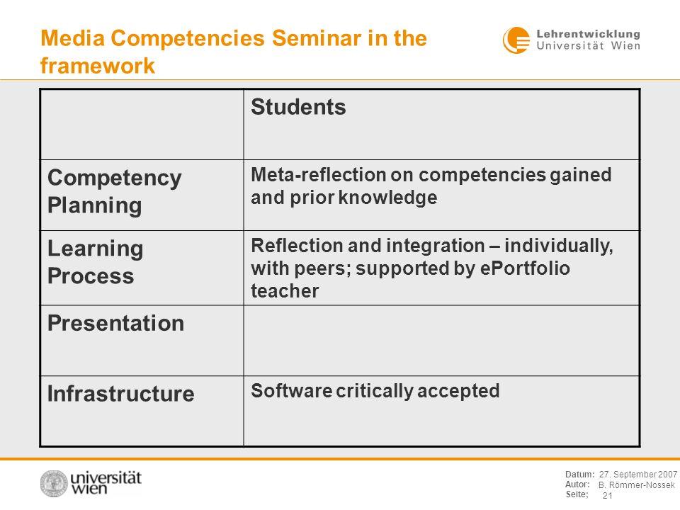 B. Römmer-Nossek 21 Datum: Autor: Seite; 27. September 2007 Media Competencies Seminar in the framework Students Competency Planning Meta-reflection o
