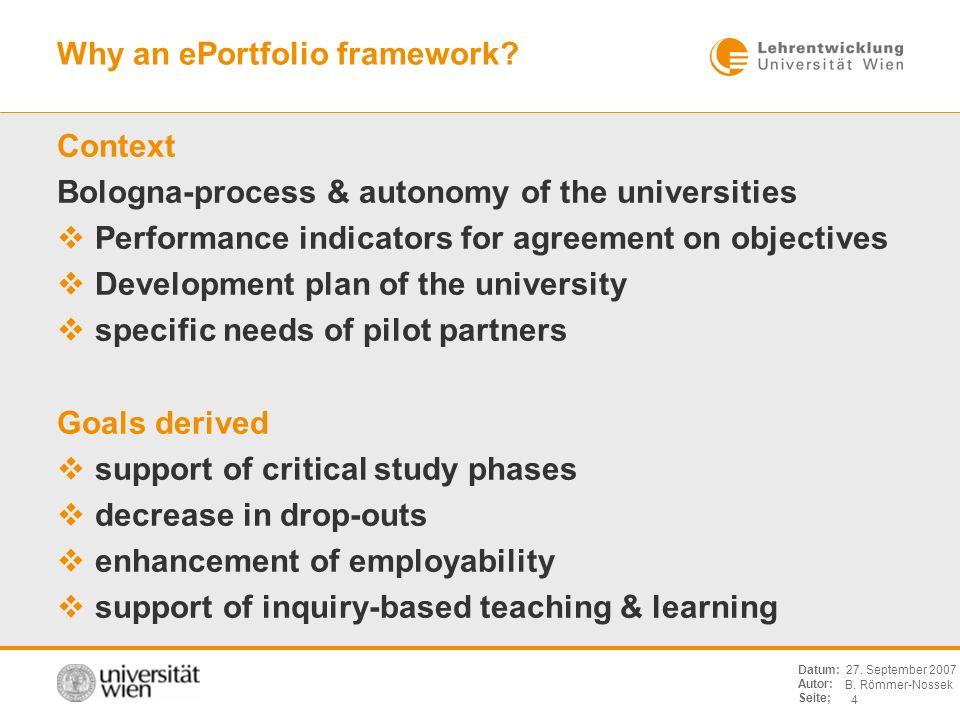 B. Römmer-Nossek 4 Datum: Autor: Seite; 27. September 2007 Why an ePortfolio framework? Context Bologna-process & autonomy of the universities Perform